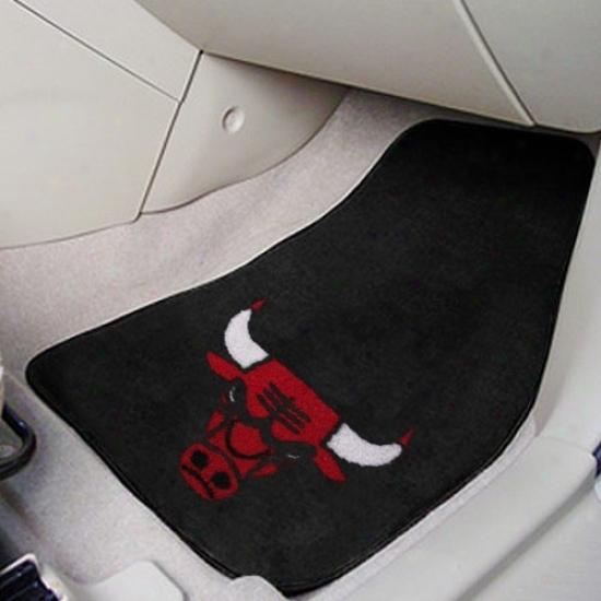 Chicago Bulls Negro 2-piece Carpet Car Mat Set