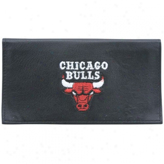 Chicago Bulls Black Embroidered Bi-fold Leather Checkbook Cover