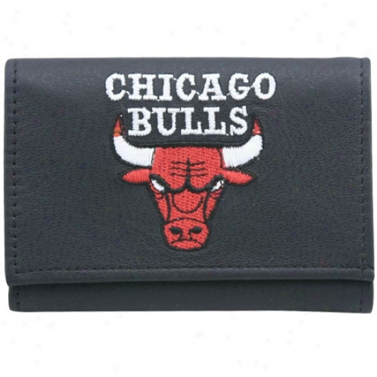 Chicago Bulls Black Embroidered Tri-fold Leathre Wallet