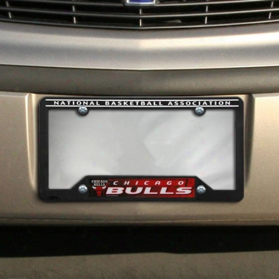 Chicago Bulls Black Plastic License Platee Frame