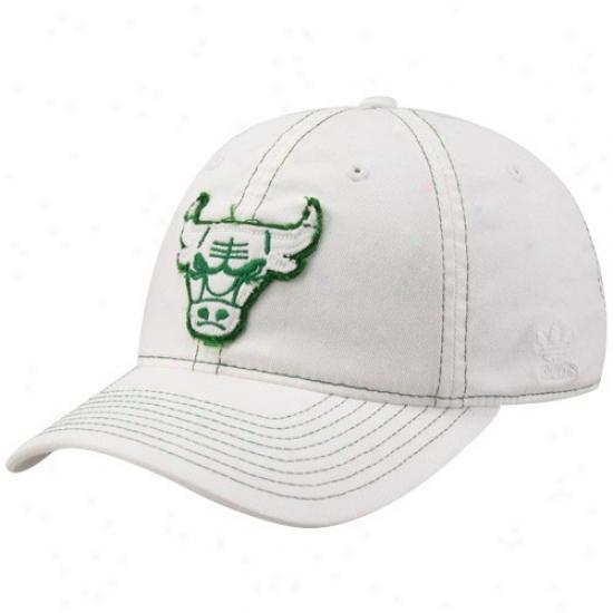 Chicago Bulls Hats : Adidas Chicago Bulls White St. Patricks Day Edition Slouch Flex Hats