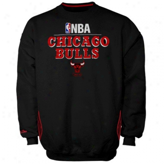 Chicago Bulllls Hoodys : Mitchell & Ness Chicago Bulls Black Media Guide Crew Hoodys