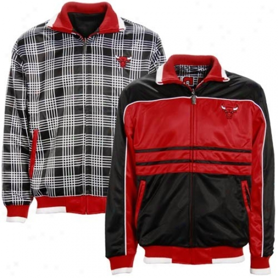 Chicago Bulls Jacketd : Chicago Bulls Red-black Sac Reversible Track Jackets