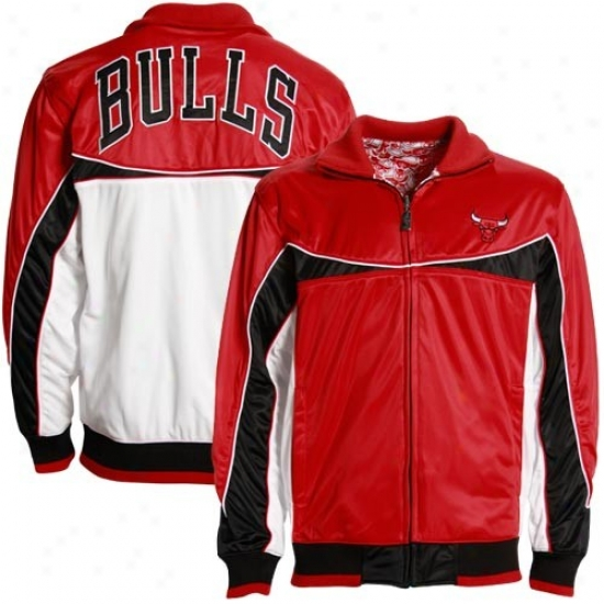 Chicago Bulls Jackets : Chicago Bulls Red-white Sik Reversible Track Jackets