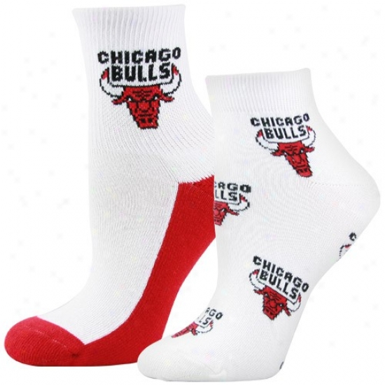 Chicago Bulls Ladies White Quarte & Footie 2-pack Socks