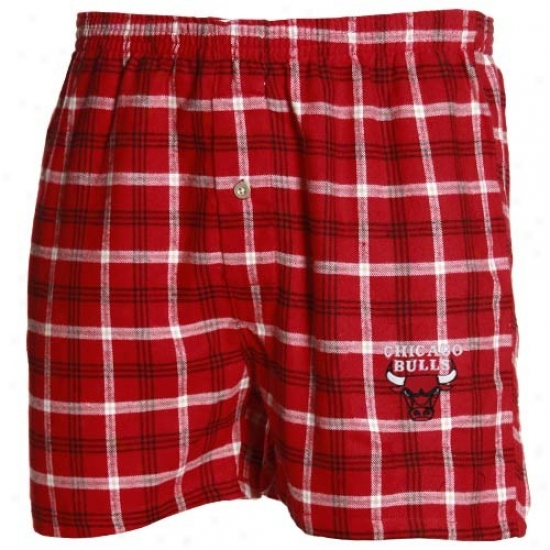 Chicago Bulls Red Plaid Tailgate Boxer Shorts