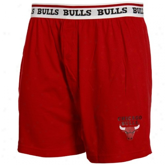 Chicaago Bulls Red Team Logo Boxer Shorts