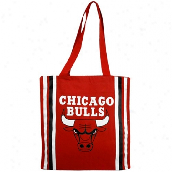 Chicago Bulls Red Team Stripe Canvas Tote
