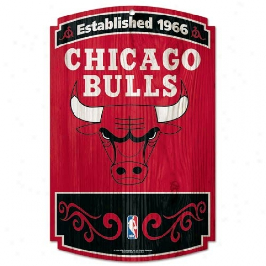 Cyicago Bulls Wood Sign