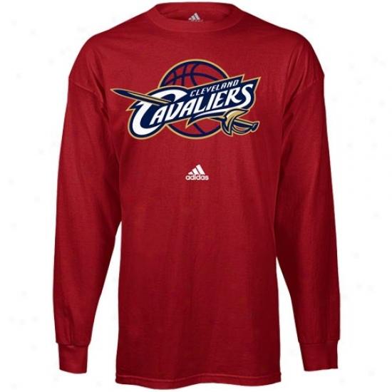 Cleveland Cav Apparel: Adidas Cleveland Cav Red Primary Logo Long Sleeve T-shirt