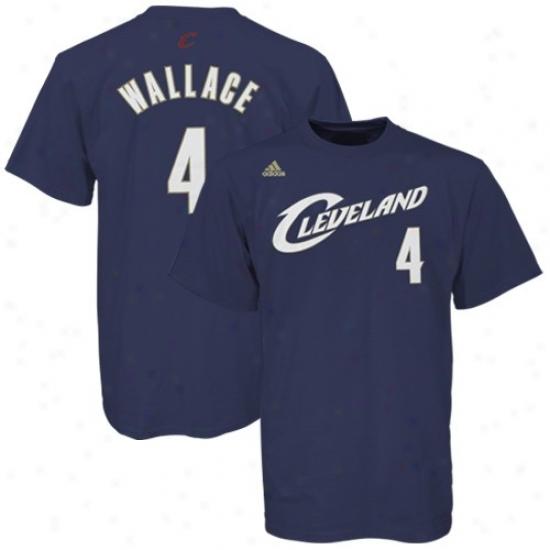 Cleveland Cav Attire: Adidas Cleveland Cav #4 Ben Wallace Navy Blue Net Player T-shirt