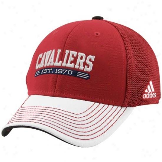 Cleveland Cav Gear: Adidas Cleveland Cav Crimson-white Established Mesh Flex Fit Hat