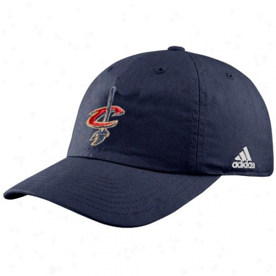 Cleveland Cav Gear: Adidas Cleveland Cav Navy Blue Logo Slouch Fit Adjustable Hat