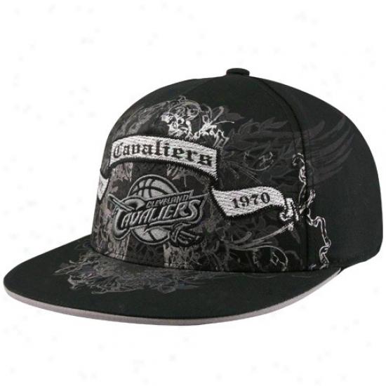 Cleveland Cav Hat : Adidas Cleveland Cav Black Vapid Note Banner Flex Fit Hat
