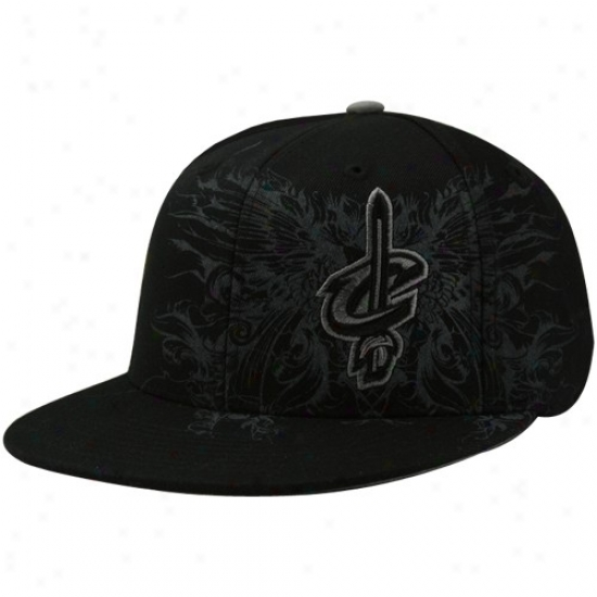 Cleveland Cav Hat : Adidas Cleveland Cav Black Tonal Flourish Fitted Hat