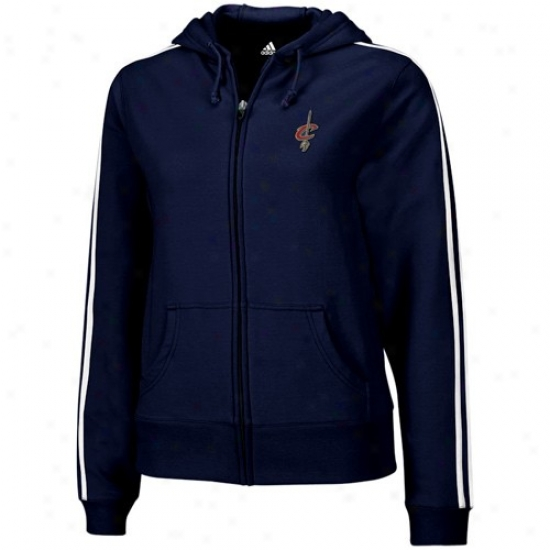 Cleveland Cav Jackets : Adidas Cleveland Cav Ladies Navy Blue Stretch Fleece Full Zip Hoody Jackets