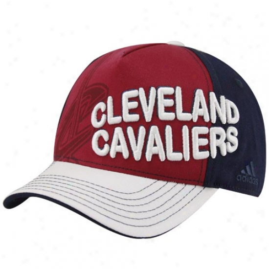 Cleveland Cav Merchandise: Adidas Cleveland Cav Youth Wine-navy Boue Color Block Adjustable Cardinal's office