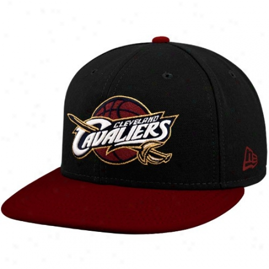 Clevelanndd Cav Merchandise: New Era Cleveland Cav Black-wine 59fifty Primary Logo Flat Brim Fitted Hat