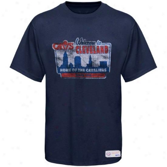 Cleveland Cav T Shirt : Sportiqe-espn Cleveland Cav Navy Blue Billboard Distresse dPremium T Shirt