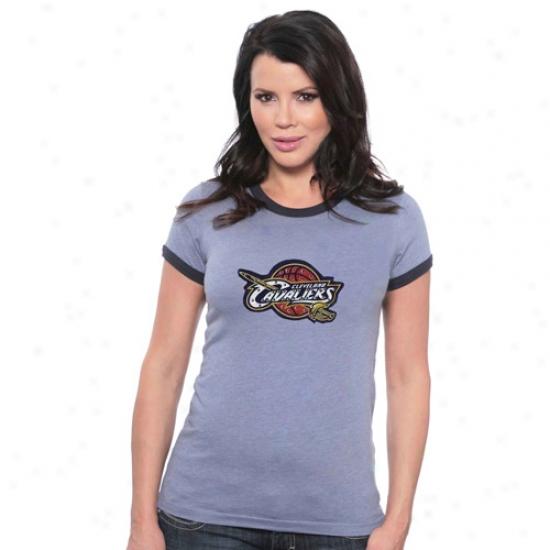 Cleveland Cav Tshirt : Majestic Threads Cleveland Cav Navy Blue Ladies Swarovski Crystal Melanhe Ringer Tshirt