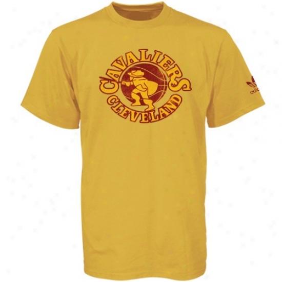 Cleveland Cavalier Attire: Toy Authentics By Adidas Cleveland Cavalier Gold Retro Logo T-shirt