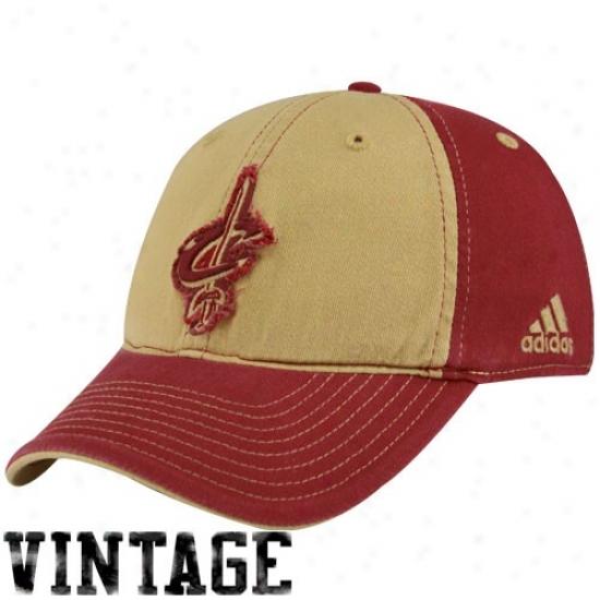 Cleveland Cavalier Appointments: Adidas Cleveland Cavalier Gold-wine Vintage Patch Flex Fit Ht