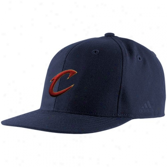 Cleveland Cavalier Hat : Adidas Cleveland Cavalier Navy Blue Basic Logo Fitted Hat