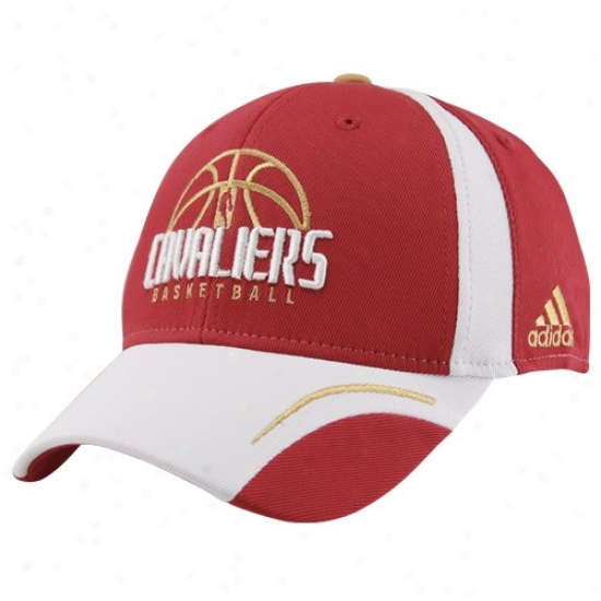 Cleveland Cavalier Hat : Adidas Cleveland Cavalier Wine Fundamental Flex Fit Hat