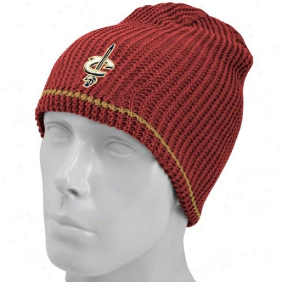 Cleveland Cavalier Hats : Adidas Cleveland Cavalier Wine-gold Striped Reversible Knit Beanie