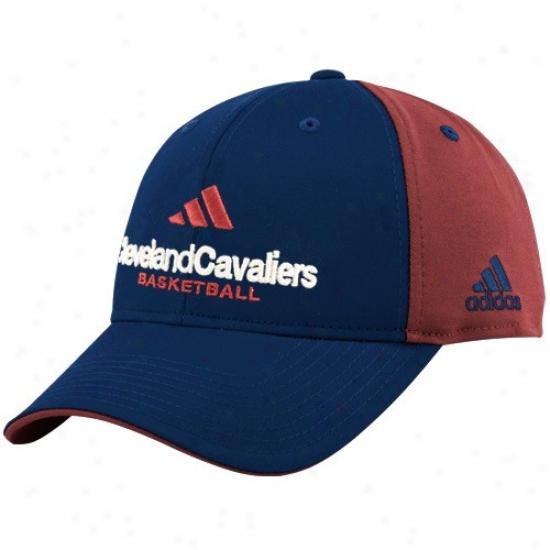 Cleveland Cavalier Hats : Adidas Cleveland Cavalier Navy Blie-red Multi Team Plea Structured Hatss