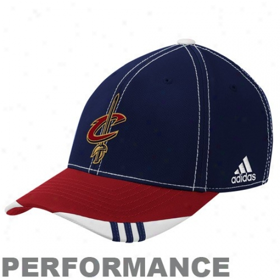 Cleveland Cavalier Hats : Adidas Cleveland Cavalier Navy Blue-wine Official On Courtyard Performance Flex Fit Hats