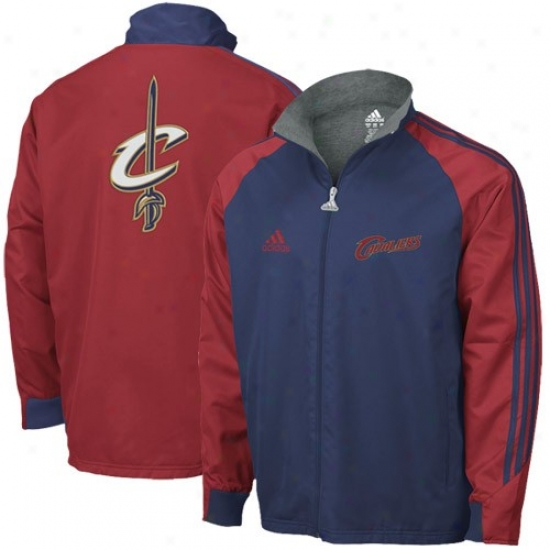Cleveland Cavalier Jackets : Adicas Cleveland Cavalier Navy Blue-wine Midweight Full Zip Jackets