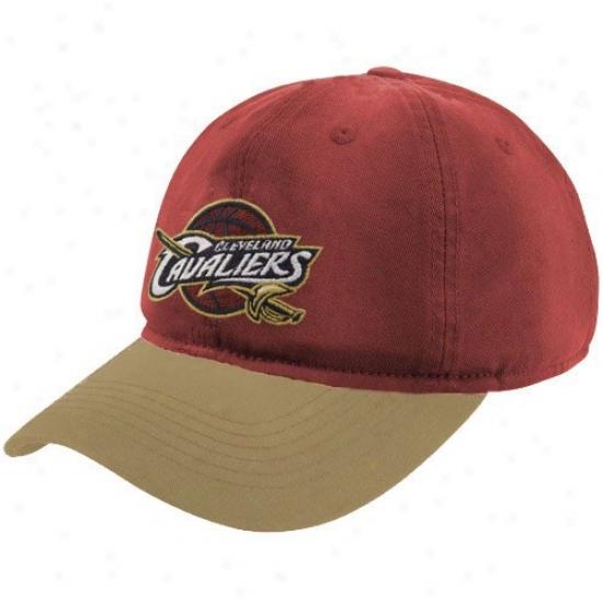 Cleveland Cavalier Merchandise: Adidas Cleveland Cavalier Wine-glod Garment Washed Slouch Hat