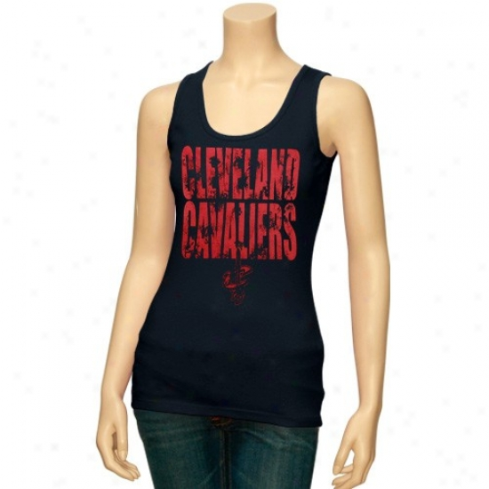 Cleveland Cavalier T Shirt : Cleveland Cavalier Ladies Navy Blue Distressed Logo Tank Top