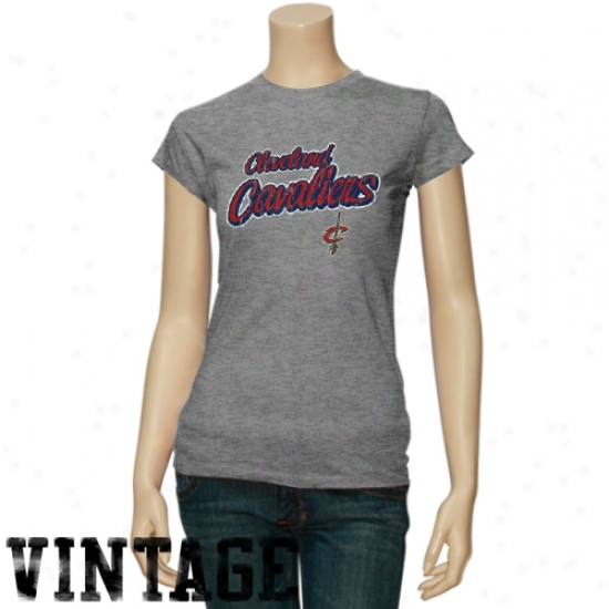 Cleveland Cavalier Tshirts : Cleveland Cavalier Ladies Ash Basic Logo Triblend Tshirts
