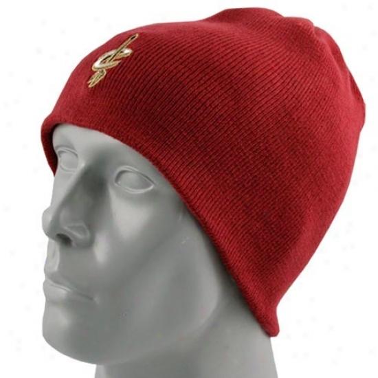 Cleveland Cavaliers Hat : Adidas Cleveland Cvaaliers Youth Garnet Basic Logo Skully Knit Beanie