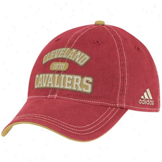 Cleveland Cavaliers Hat : Adidas Cleveland Cavaliers Wine Adjustable Slouch Hat