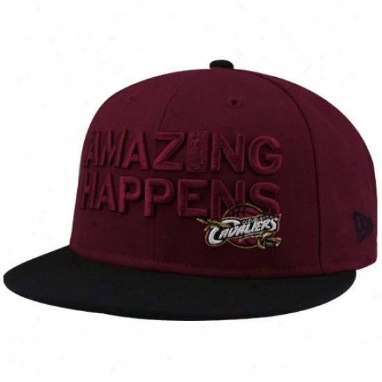 Clevelan Cavaliers Hat : New Era-espn Cleveland Cavaliers Wine-black Amazing Fitted Hat