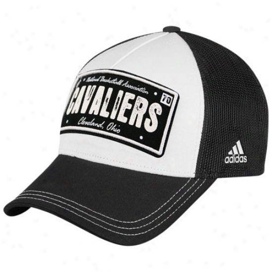 Cleveland Cavaliers Hats : Adidas Cleveland Cavaliers Black-white Dish Mesh Back Adjustable Trucker Hats