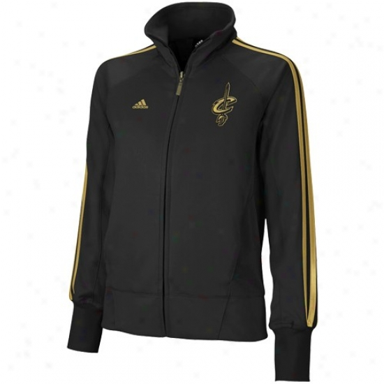 Clevealnd Cavaliers Jacket : Adidas Cleveland Cavaliers Ladies Black Golden Nights Full Zip Track Jacket