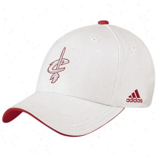 Cleveland Cavaliers Mrchandise: Adidas Cleveland Cavaliers White Tonal Logo Flex Fit Hat