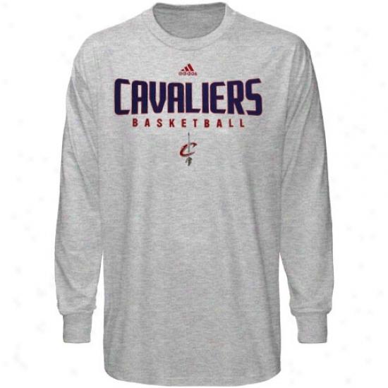 Cleveland Cavaliers Tees : Adias Cleveland Czvaliers Ash Absolute Long Sleeve Tees
