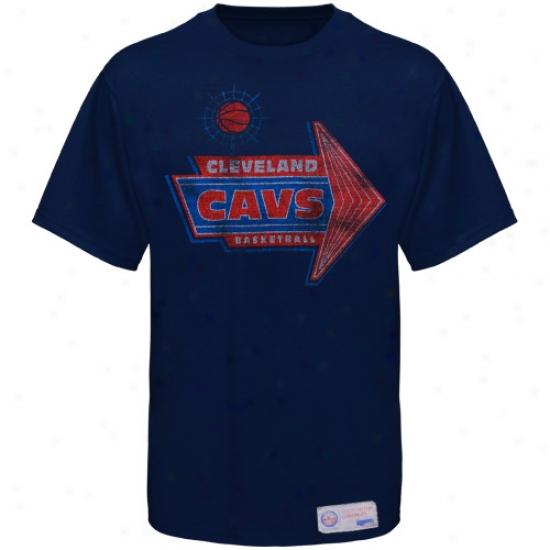 Cleveland Cavaliers Tshirts : Sportiqe-espn Cleceland Cavaliers Navy Blue Strip Distressed Premium Tshirts