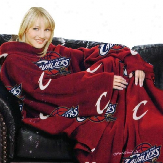 Cleveland Cavaliers Wine Team Logo Print Unisex Confy Throw