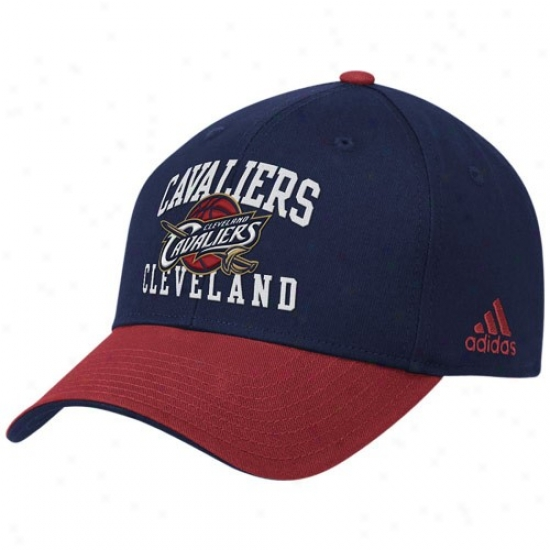 Cleveland Cavs Caps : Adidas Cleveland Cavs Navy Blue-wine Prro Structured Adjustable Caps