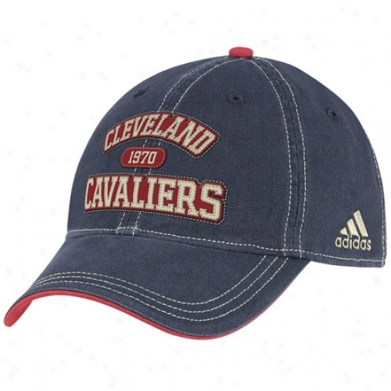 Cleveland Cavs Gear: Adidas Cleveland Cavs Navy Blue Adjustable Slouch Hat