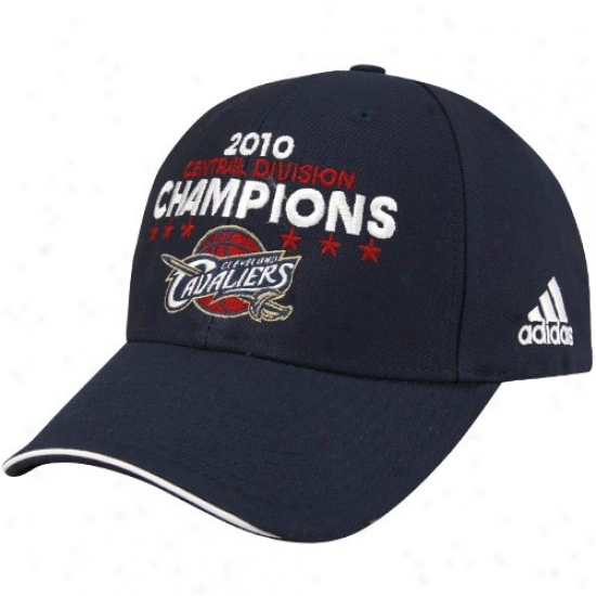 Cleveland Cavs Hat : Adidas Cleveland Cavs Navy Blue 2010 Central Division Champions Adjustable Hat