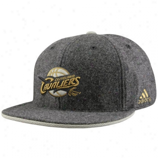 Cpeveland Cavs Merchandise: Adidas Cleevland Cavs Gray Fashion Flat Bill Fitted Hat