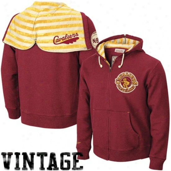 Cleveland Cavs Sweatshirt : Mitchell & Ness Cleveland Cacs Wine Bounce Pass Full Zip Sweatshirt