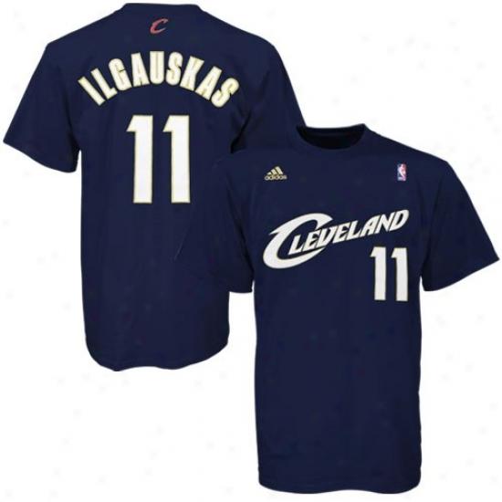 Clevelad Cavs Tshirt : Adidas Cleveland Cavs #11 Zydrunas Ilgauskas Na\/y Blue Player Tshirt